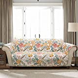 Lush Decor Sydney Furniture Protector-Floral Leaf Garden Pattern Loveseat Cover-Blue and Yellow, Blue & Yellow