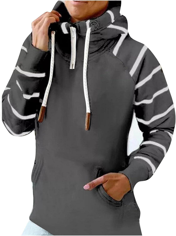 COMVALUE Womens Hoodies,Women Casual Zipper Long Sleeve with Pocket Lightweight Striped Pullover Sweatshirts