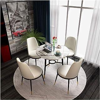 HEMFV Mesa de Comedor y 4 sillas, mármol Moderna Tabla de Cena Redonda con la Silla de Cuero 4 Mesa de Comedor Juego de Cocina Muebles de Comedor