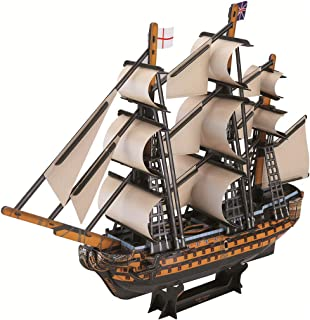 HMANE 3D Jigsaw Puzzle Boat Miniature Handmade Ship Model Kit Toy Building Jigsaw for Kids Adult - (Victory)
