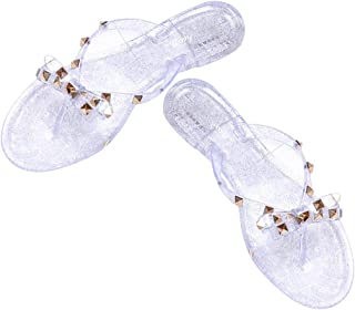 Summer Jelly Ladies Girls Flip-flops,Rivet Glitter Particles Transparent Flat Slides,Elegant Chic Beach Sandals