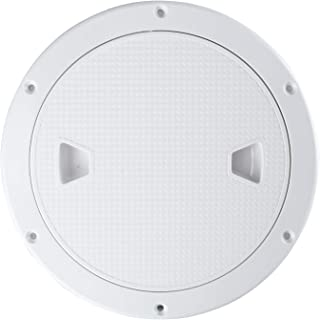 YaeMarine 6 Boat Deck Cover Marine Inspection Hatch Deck Plate Access & Lid Round Non-Slip RV White