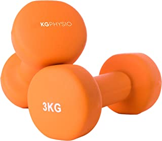 KG Physio Dumbbells Set and A3 Poster with Exercise Examples - dumbbells pair with Neoprene Coating, Comfortable grip, Swe...