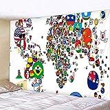 Tapiz,Mapa Del Mundo De Dibujos Animados Con La Bandera De Los Países Y El Nombre Educativo Divertido Patrón Tapices Decoración Trippy Vintage Hippie Manta Grande Decoración Para Dormitorio Sala