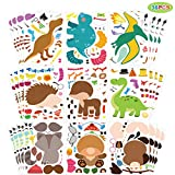 36 PCS Make a face Sticker Sheets, Make Your Own Sticker, Animal Sticker for Kids. Dinosaurs and Zoo Animals Sticker Sheets as Gift of Festival, Reward, Birthday, Kids Party Favors.