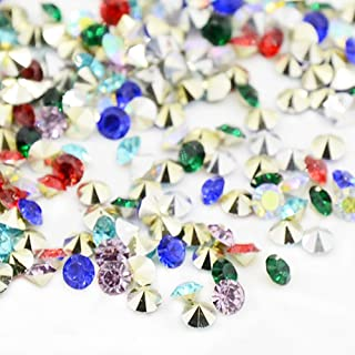 ARRICRAFT 1 Bag Pointed Back Resin Rhinestones 6mm Mixed Color Faceted Diamond Cabochon Rhinestones for DIY Jewelry Making, About 1440pcs/bag