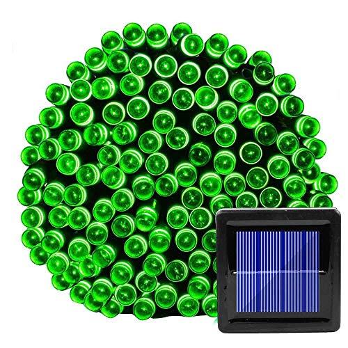 Groene zonne-verlichting en lantaarns, waterdichte waterdichte lichtslingers voor in de tuin, kerstversiering voor in de tuin, lichtslinger-groen_52 meter 500 lampjes op zonne-energie 8 functies