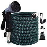 STAR FOREST Expandable Garden Hose,Flexible Hose with Multilayer Latex Core, 3/4' Nickel-Plated Brass Fittings, Extra Strength Fabric,Water Hose with 10 Functions Nozzle(Black Blue)