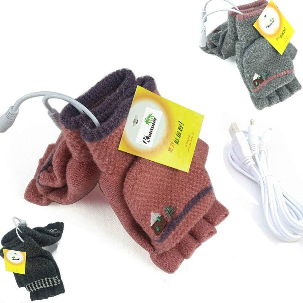 Women's & Men's 3 Pack USB Heated Gloves Mitten Winter Hands Warm Laptop Gloves, Knitting Hands Full & Half Heated Fingerless Heating Warmer Washable Design (Gray+Pink+D Gray)