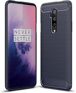電話ケース OnePlus 7T PROケースカーボンファイバーテクスチャ耐衝撃衝撃耐震衝撃携帯電話保護ケースのための保護ケース (Color : Navy)