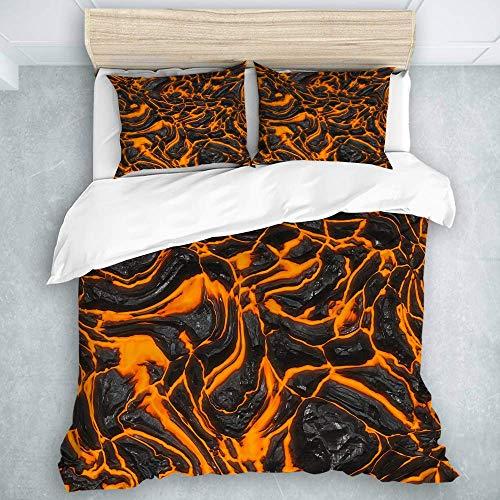 Juego de funda de edredón, diseño de volcán de lava con textura sin costuras, juego de funda de edredón de microfibra, tamaño doble (200 x 200 cm)