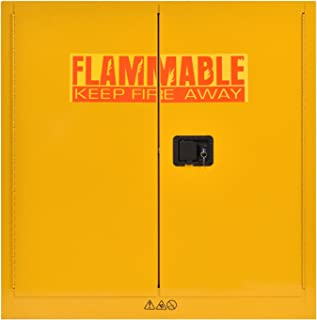 Sandusky Lee SC300F Yellow Steel Safety Cabinet for Flammable Liquids, 1 Shelf, 2 Door Manual Close, 30 Gallon Capacity, 44