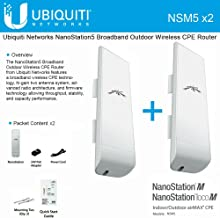 Ubiquiti NSM5 Bundle of 2 NanoStation M5 5GHz Outdoor airMAX CPE 150+Mbps 15+km
