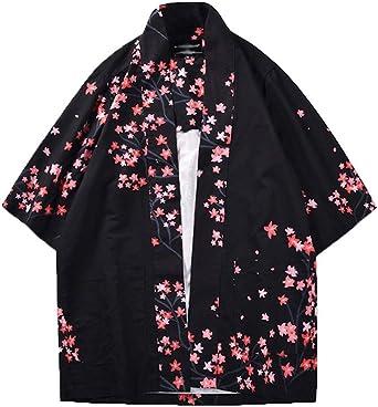 Hombre Camisa Kimono Hippie Cloak Estilo Japonés Estampado Holgado Manga 3/4 Cardigan