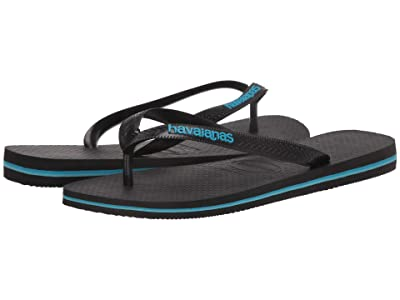 Havaianas Logo Filete Flip-Flops (Black/Black/Turquoise) Men