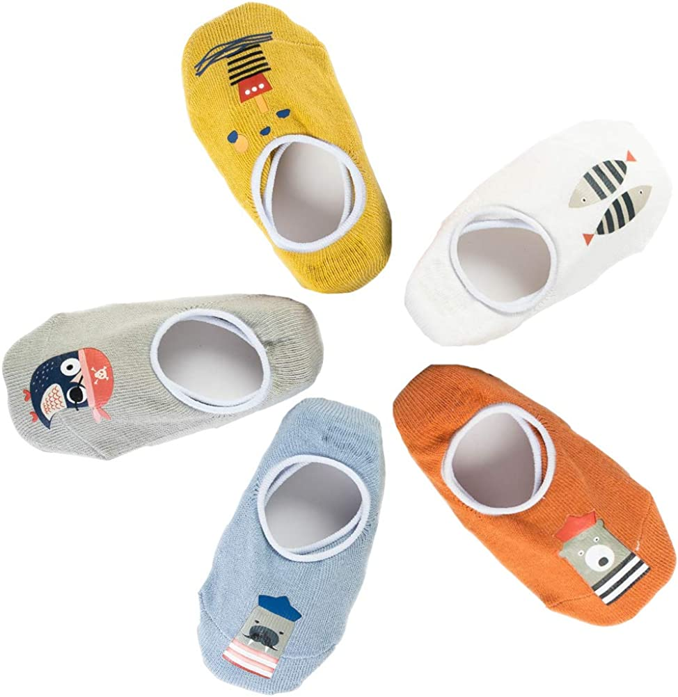 5 Pairs Baby Non Skid Sock with Silica Gel Toddler Socks for Baby Boy