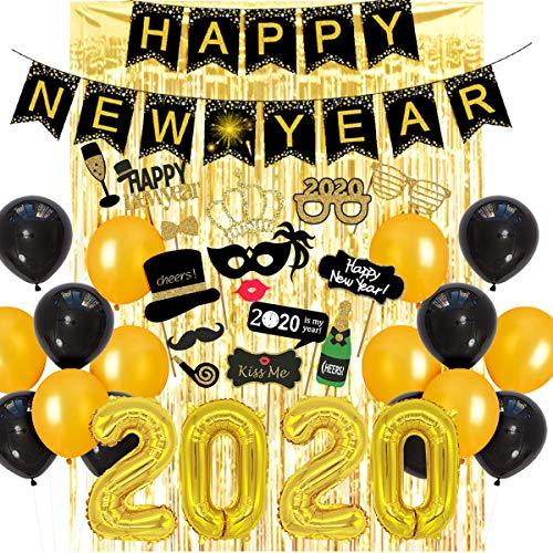 Feliz año nuevo decoraciones 2020 con globos de oro negro número 2020 2020 año nuevo accesorios de fotomatón para el hogar decoraciones de fiesta de fin de año