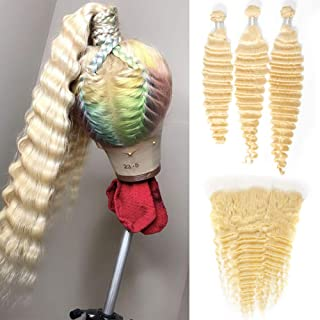 NEWYOU 613 Blonde Deep Wave 3 Bundles with Frontal Ear to Ear 100% Brazilian Human Hair Bundles with 13×4 Lace Closure Pre-Plucked with Baby Hair Free Part (613 Deep 16 18 20+14 Frontal Free)