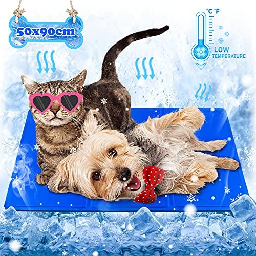Wilktop Kühlmatte Hunde, Groß Haustier kühlmatte Kühlpad Für Hunde und Katzen-Matte zur Regulierung der Körpertemperatur-Kühlkissen Hundematte Kühldecke für Hunde und Katzen (50x90cm)