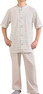 ケーズアイ メンズパジャマ 楊柳カラーボーダーナイトウェア 半袖?長パンツ 盛夏向き素材