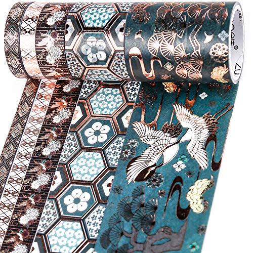 PuTwo Washi Tape, 5 Rollen Washitape, 8mm/10mm/30mm/50mm Washi Tape Set, Klebeband Bunt, Washitape, Washi Tape, Japanisches Washi Tape, Washi Tape für Tagebuch, Dekoratives Tape für Kunsthandwerk