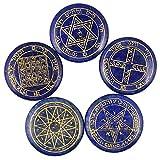 rockcloud Healing Crystal Lapis Lazuli Solomon Symbol Witches Rune Set Chakra Stones Palm Stone Reiki Balancing, 5 Pcs