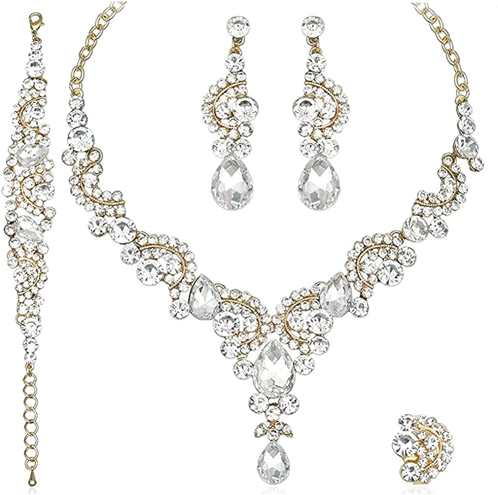 CSY Elegant Crystal Necklace Earrings Bracelet Ring Bridal Wedding Party Costume Jewelry Sets for Brides Women