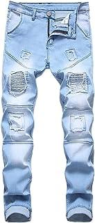 Mens Ribbed Jeans Stretch Straight Fit Denim Pants Washed Biker Distressed Destroyed Jeans