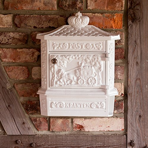 Antikas - Wandbriefkasten mit Zeitungsfach - rostfreies Alu - Briefkasten in weiß