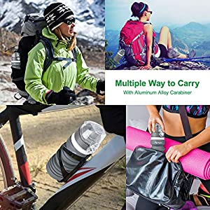 Kupton Portable Travel Water Bottle, BPA Free Reusable Foldable Collapsible Silicone Water Bottles, Canteen Kettle for Daily Hydration Outdoor Sports Running Hiking with Carabiner & Quick Dry Cloth