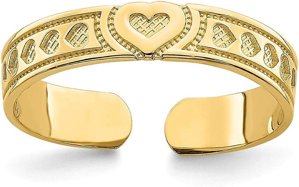 Solid 14k Yellow Gold Engraved Heart Design Adjustable Toe Ring Adjustable