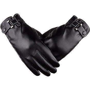 Elekin 手袋 メンズ PUレザー スマホ対応 革手袋 防寒 グローブ 裏起毛 柔らか 暖かい スマホ手袋 全指対応 紳士 自転車 通勤 ビジネス プレゼントにも最適 レディース