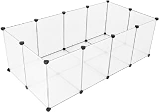 SONGMICS Pet Playpen,Fence Cage with Bottom for Small Animals Guinea Pigs, Hamsters, Bunnies, Rabbits