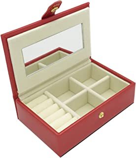 UnionPlus Small Faux Leather Travel Jewelry Box Organizer Display Storage Case (Red)