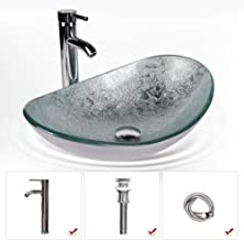 Bathroom Sink and Faucet Combo - Artistic Tempered Glass Vessel Sink Basin Washing Bowl Set, Cabinet Countertop Sink with Chorme Faucet Pop-up Drain and Water Pipe Lavatory Washroom (Oval Silver)
