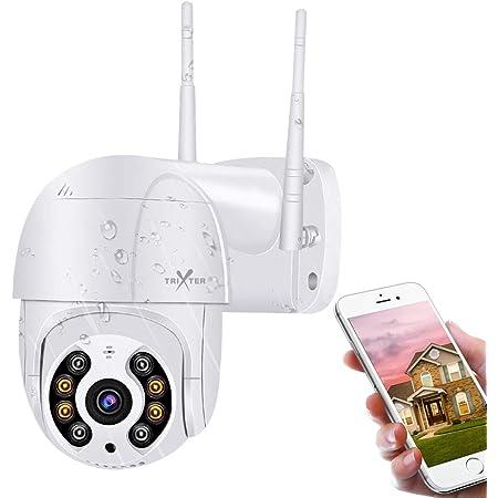 PTZ Cámara De Seguridad Exterior WiFi Inalambrica, Mini Cámara de Vigilancia HD 1080P Impermeable IP66, Zoom 4X, IR Visión Noturna de Color, Pan/Tilt 360° Rotación Audio Bidireccional, Detección de Movimiento, Monitoreo Inteligente en Tiempo Real por APP iCsee