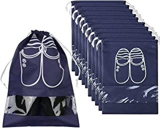 Travel Shoe Organizer Bags for Boots, High Heel, Drawstring, Transparent Window, Space Saving Storage Bags 5/10 Pack