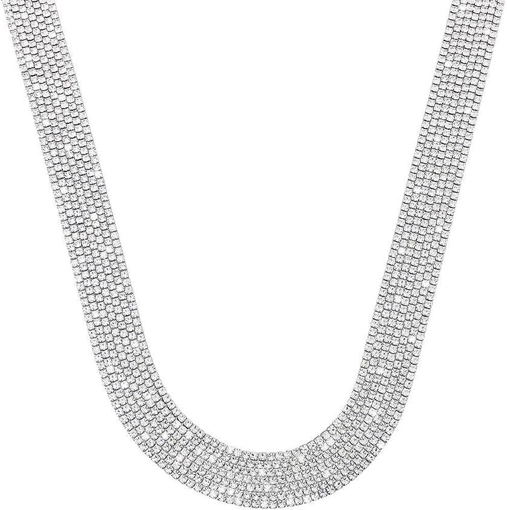 Stroili ,collana multifilo larga per donna, in metallo rodiato con strass 1668688