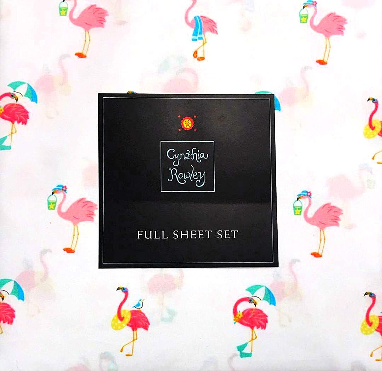 Cynthia Rowley Flamingos at The Beach 4-Piece Full Sheet Set