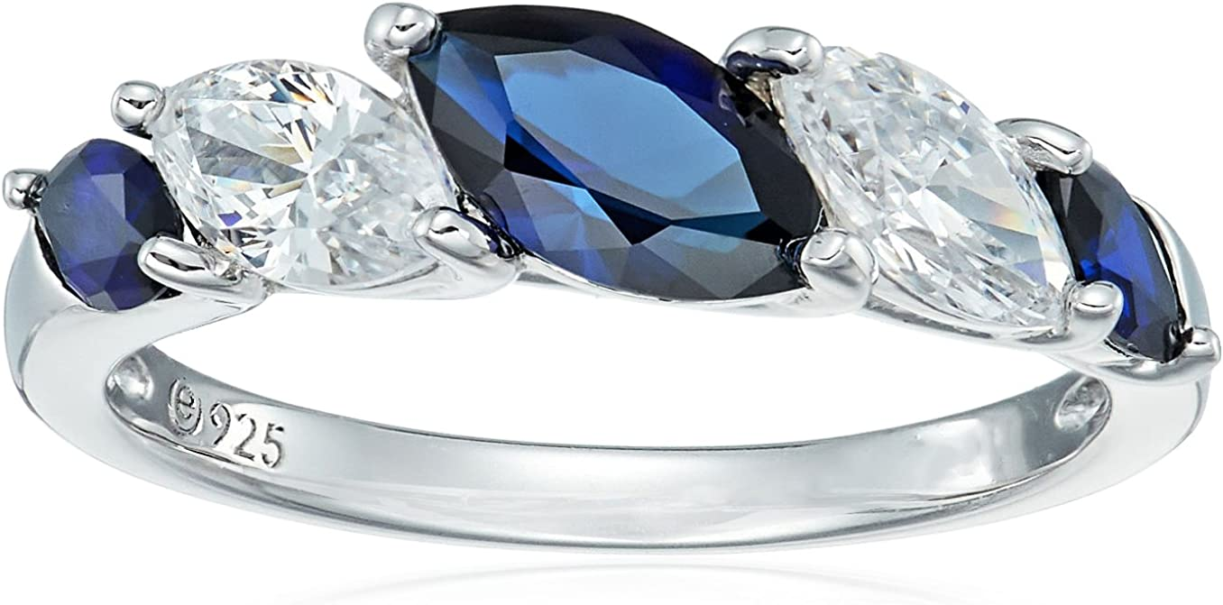 Platinum-Plated Sterling Silver Marquise Created Sapphire and Sw Las Vegas Mall Manufacturer OFFicial shop