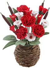 NATFUR Dollshouse Miniature Clay Flowers in Rattan Pot Planter Garden Decor ACCS 4#