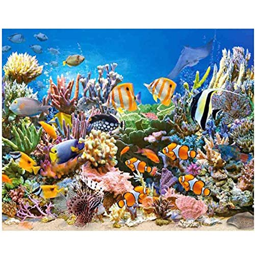 Sea World Aquarium Fish,Diamond Borduurwerk,Diamant Schilderij,Cross Stitch,5D,Square,Strass steentje,Mozaïek,Muur, Kits,Thuis,Decor,Gift, 30x40cm Square drill