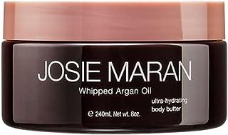 Josie Maran Whipped Argan Oil Body Butter - Immediate, Lightweight, and Long-Lasting Nourishment to Soften and Hydrate Skin (240ml/8.0oz, Honeysuckle Vanilla)