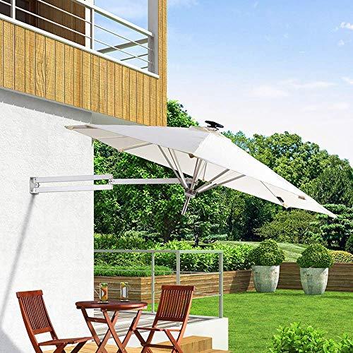 Sombrilla de exterior Sombrilla de jardín - Montado en la pared Cantilever Led solar - Tela de poliéster, Plegable, Telescópica, Sombrilla de recreación al aire libre, Patio / Jardín / Terraza LDFZ