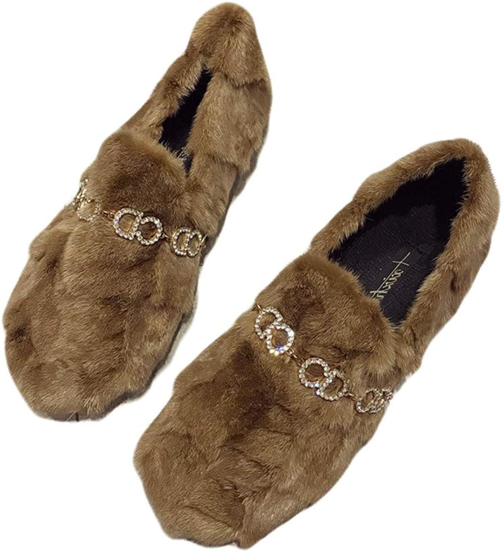 August Jim Womens Flats shoes,Round Toe Soft Sole Winter Warm Mink Hair Slipper