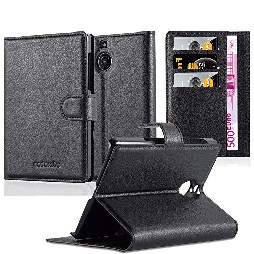 Cadorabo Hülle für BlackBerry Passport Silver Edition - Hülle in Phantom SCHWARZ – Handyhülle mit Kartenfach und Standfunktion - Case Cover Schutzhülle Etui Tasche Book Klapp Style