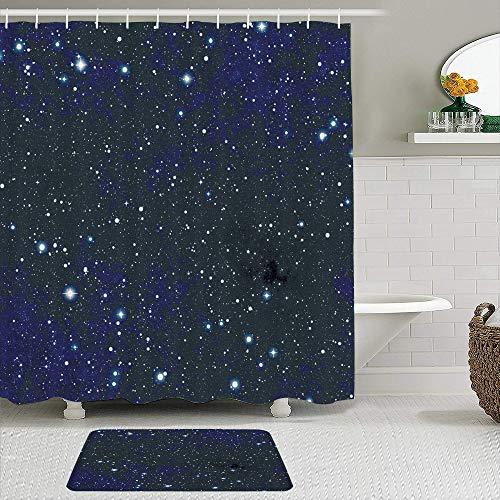 MEJX 2-teiliges Duschvorhangset mit Rutschfester Badematte,Nacht Komposition mit Punkten Nachthimmel Thema Abstrakt Stil Arrangement Cosmos Concept,12 Haken,Badezimmerdekoration