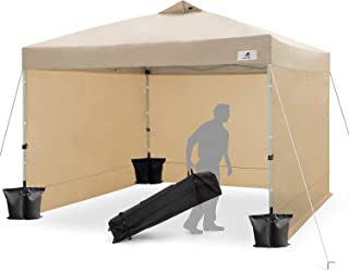 FinFree 10x10 FT Compact Ez Pop up Canopy Tent Outdoor, Folding Canopy Tent, Instant Canopy with 5 Walls and Wheeled Carry Bag, Beige