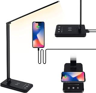 چراغ میز IKLLO LED ، میز محافظ چشم با شارژر بی سیم ، پورت شارژ USB ، کنترل لمسی ، 5 حالت روشنایی ، 5 روشنایی ، تایمر خودکار 30/60 دقیقه ، چراغ مطالعه اتاق خواب تاشو دفتر (سیاه)
