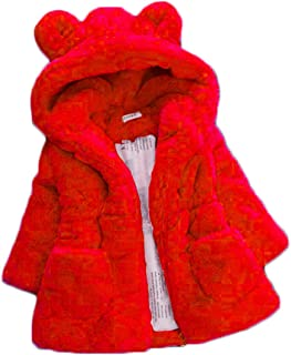 Aiweijia 女の子のためのコットンコート、子供のガールズフェイクファーフリースラペルコート冬のジャケット